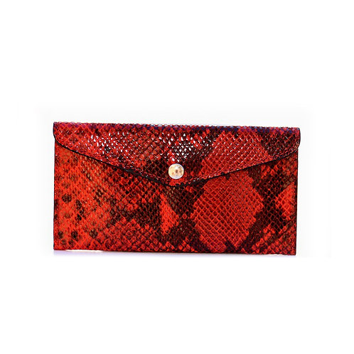 Leather Croco wallet in red