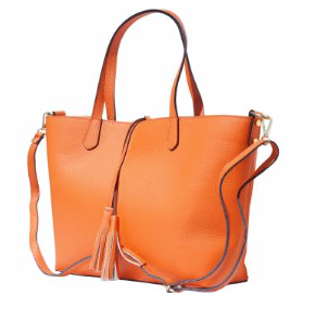 The Venetian Leather Tote With Makeup Pouch -Hot Peach