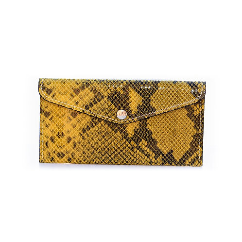 Leather croco wallet in yellow