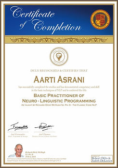 Basic NLP Practitioner's Certificate of Completion