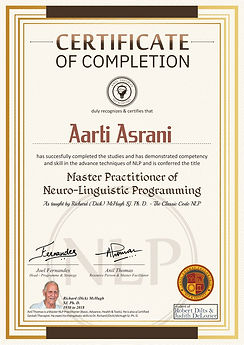 Master Practitioner's Certificate of Completion