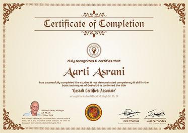 Gestalt Certified Associate's Certificate of Completion