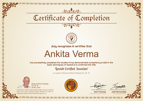 Gestalt Psychology and Therapy (Level I) Gestalt Certified Associate (GCA)