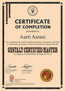 Gestalt Certified Master's Certificate of Completion