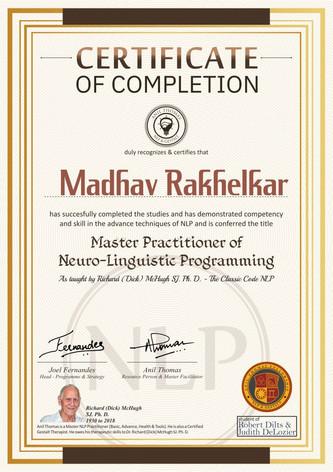 Advance Level (II) - Master Practitioner Certificate Neuro-Linguistic Programming (NLP)