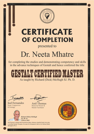 Gestalt Psychology and Therapy (Level II) Gestalt Certified Master (GCM)