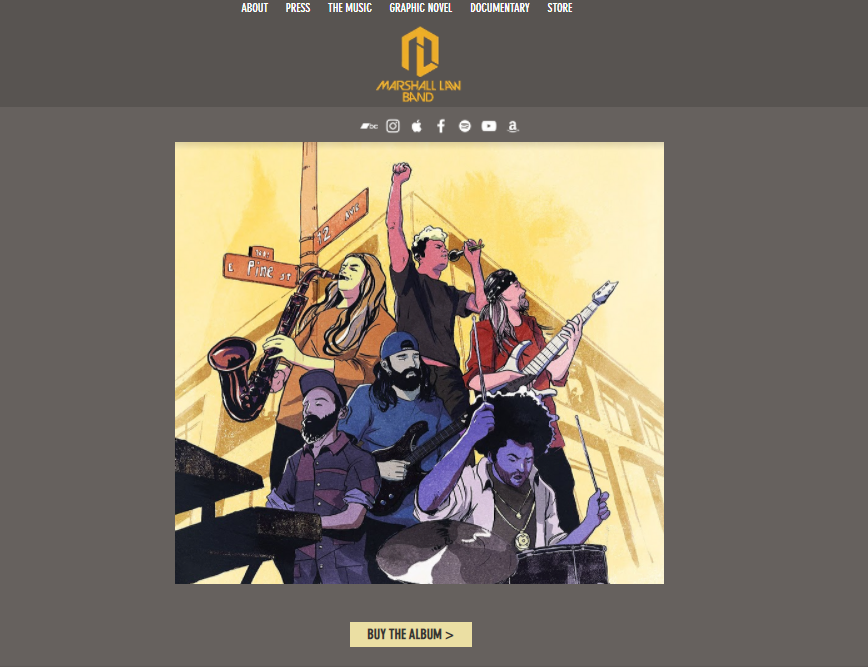 Wix website examples Marshall Law Band