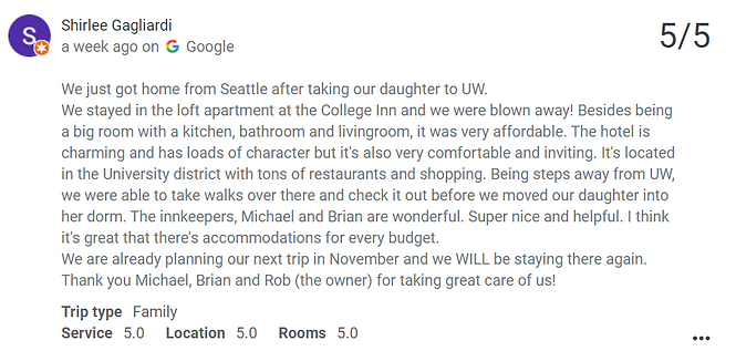 A customer review of the College Inn, the closest hotel to the University of Washington