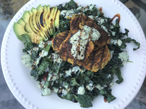 Falafel Kale Salad with Cucumber Dressing from Diana