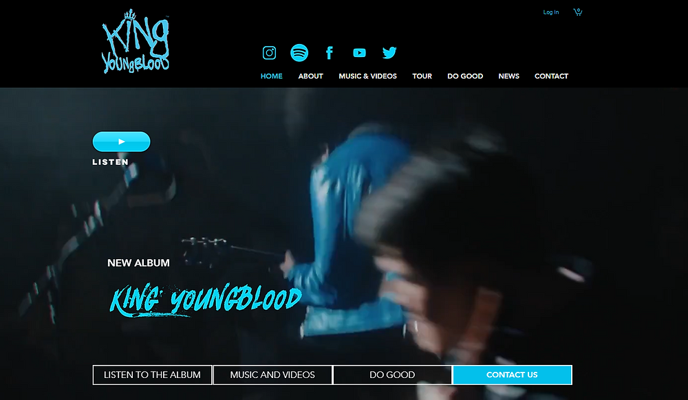Wix website examples King Youngblood