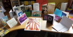 Thank you cards on my office desk at home.