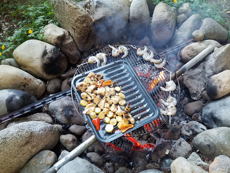 Healthy Fourth of July – Shrimp and Veggies over a Fire Pit