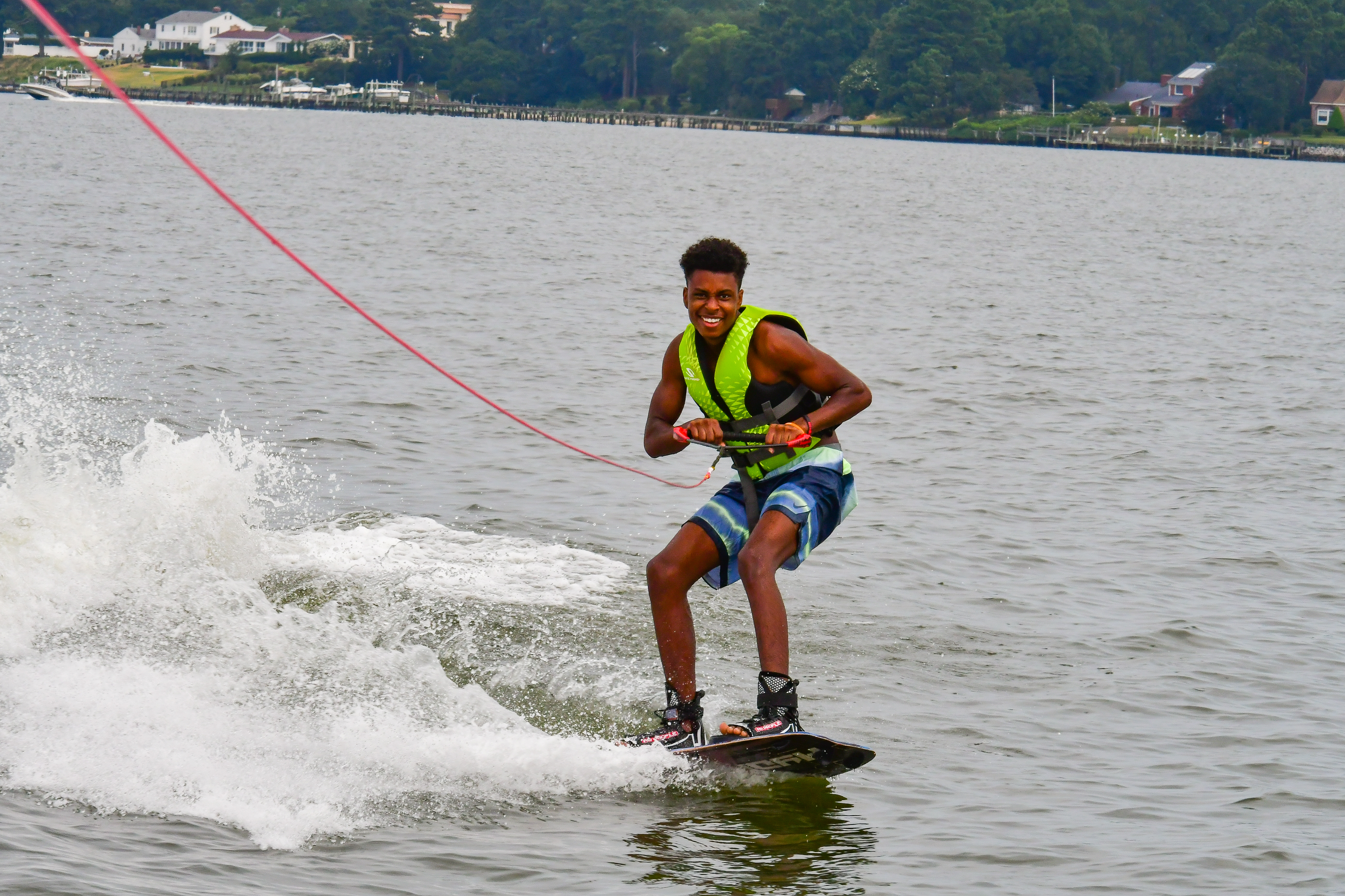Odie's first time wakeboarding