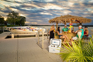 Dock with Boat, Tiki and Cooler.jpg