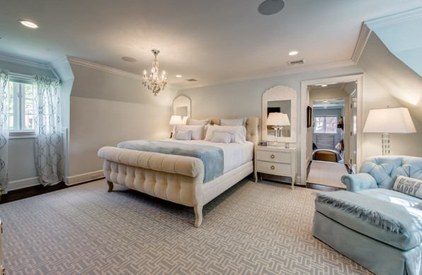 Light Blue Master Bedroom - French Normandy Tudor