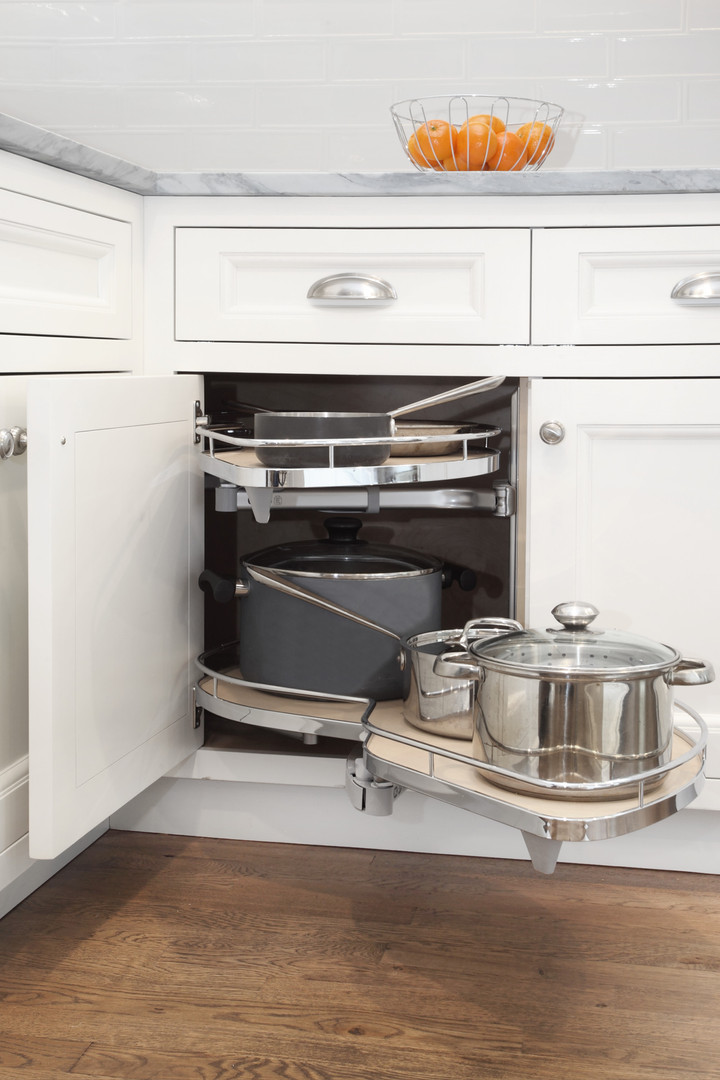 Corner Cabinet Swivel Storage Shelves