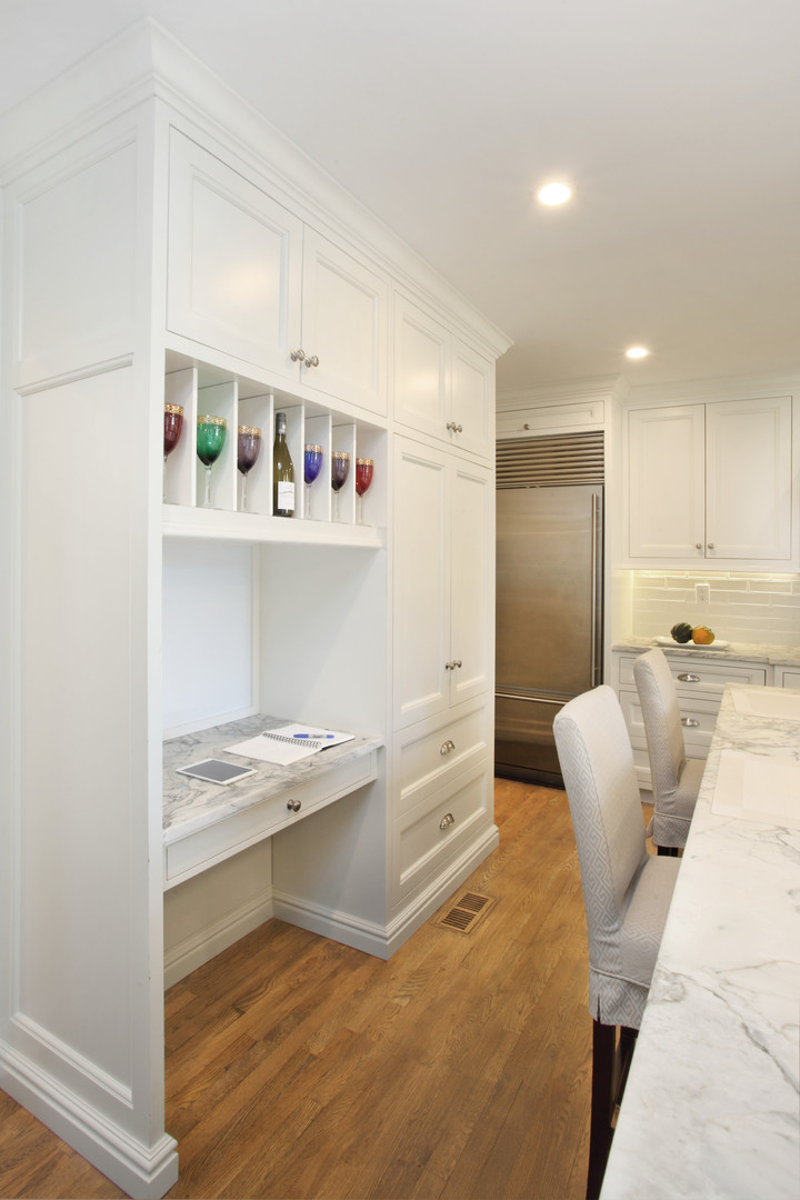 Custom Millwork - Storage Shelves w/ Desk/Serving Area
