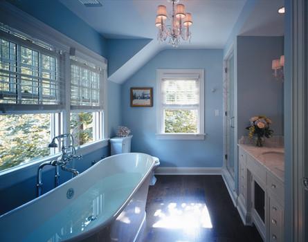 Transitional Blue Bathroom