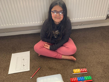 Arya (1TM) has been busy measuring the length of objects at home using her lego. Well done Arya.