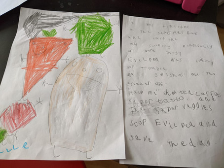 Halle in 1TM has wrote a fantastic retell of the Supertato. Well done Halle.