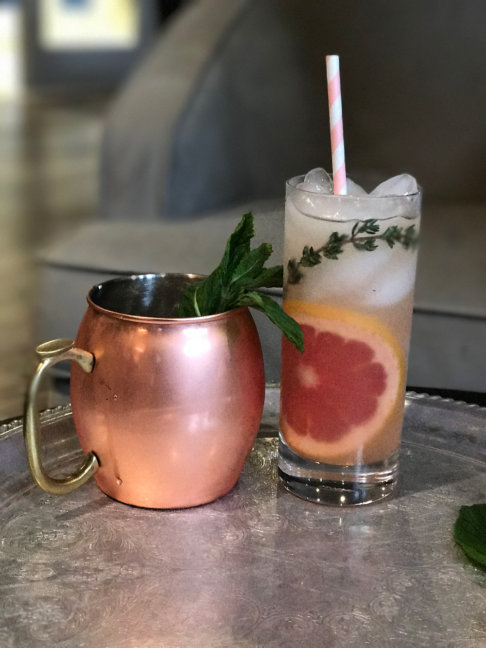 St. George Grapefruit & Thyme Spritzer & Breckenridge Bourbon Mule