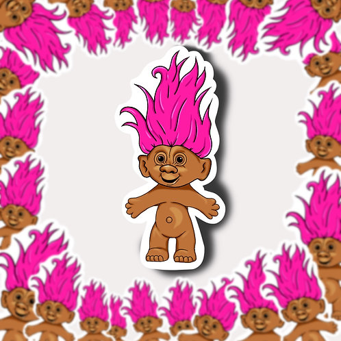 Pink Haired Troll Sticker