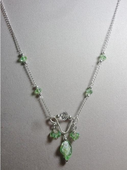 Lime Green Glass Bead & Silver pendant set
