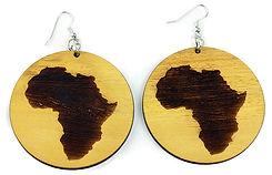 AFRICA IMP J-E121 WOODEN AFRICA EARRINGS