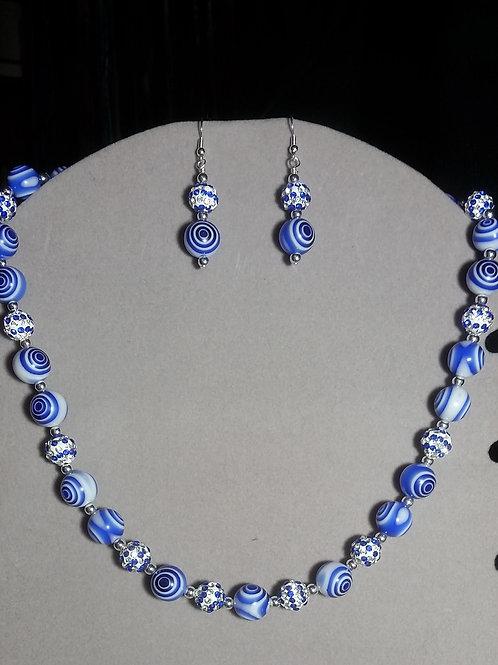 Blue & White Acrylic Bead Necklace Set