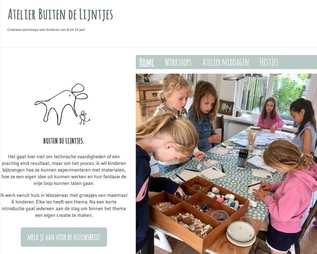 website voor atelier BUITEN DE LIJNTJES