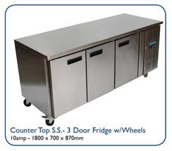Counter Top S.S. - 3 Door Fridge w/Wheels