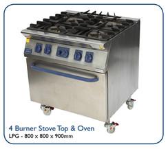 4 Burner Stove Top & Oven