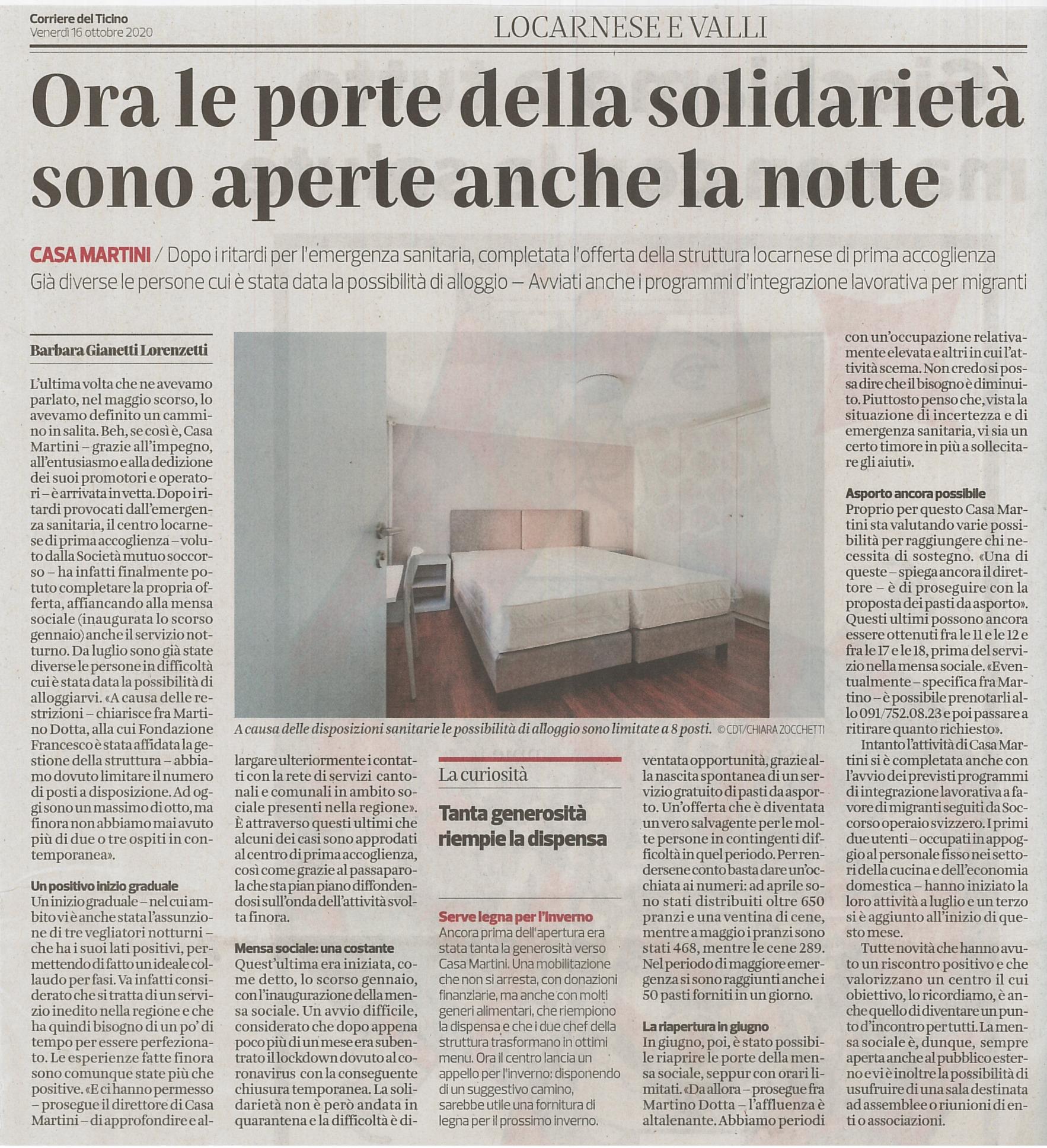 Corriere del Ticino 16.10.2020
