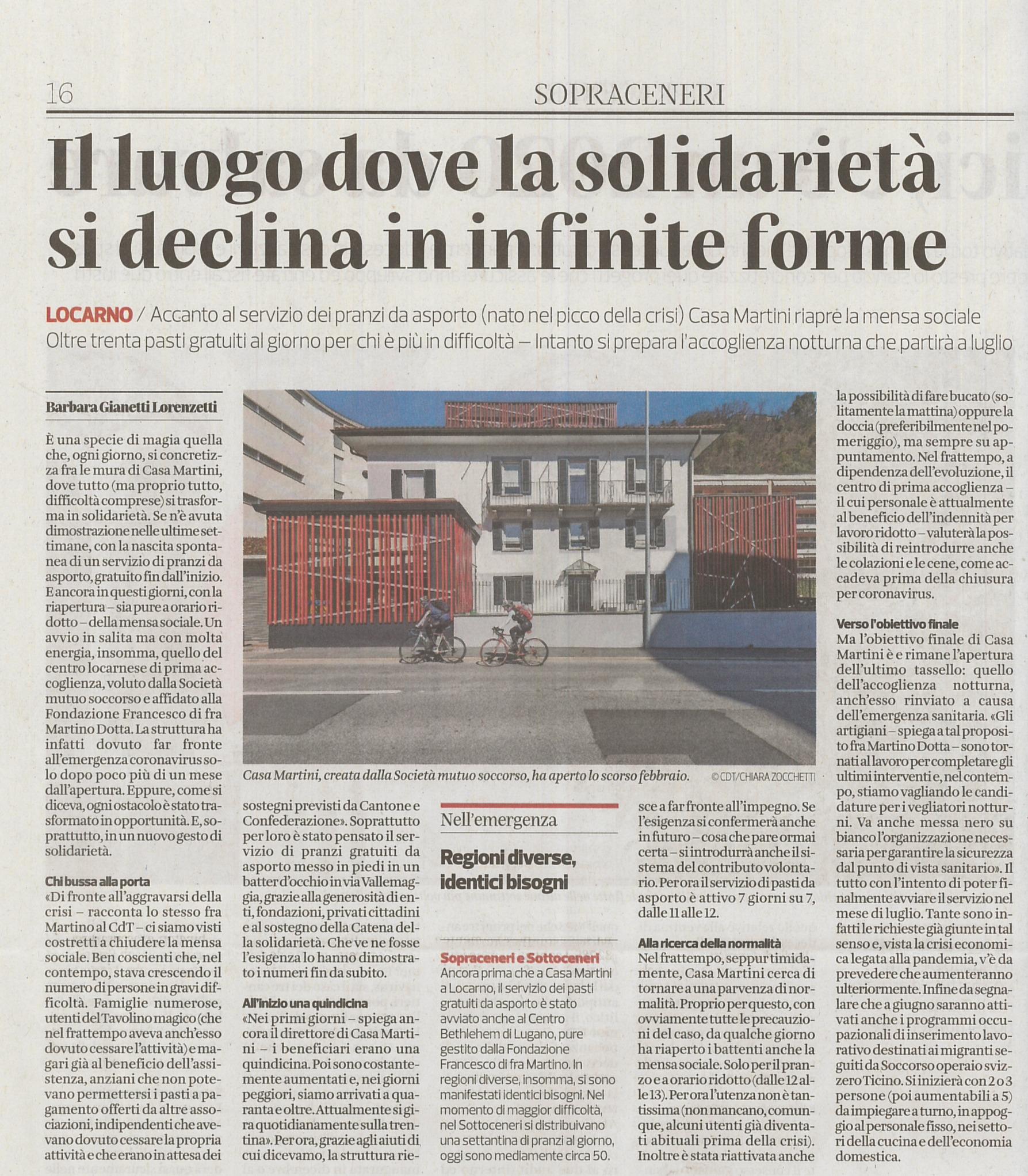 Corriere del Ticino 25.05.2020