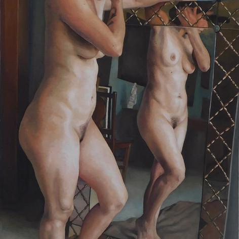 Desnudo y espejo II