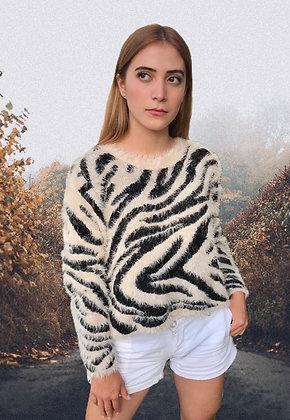 Suéter peludo cebra