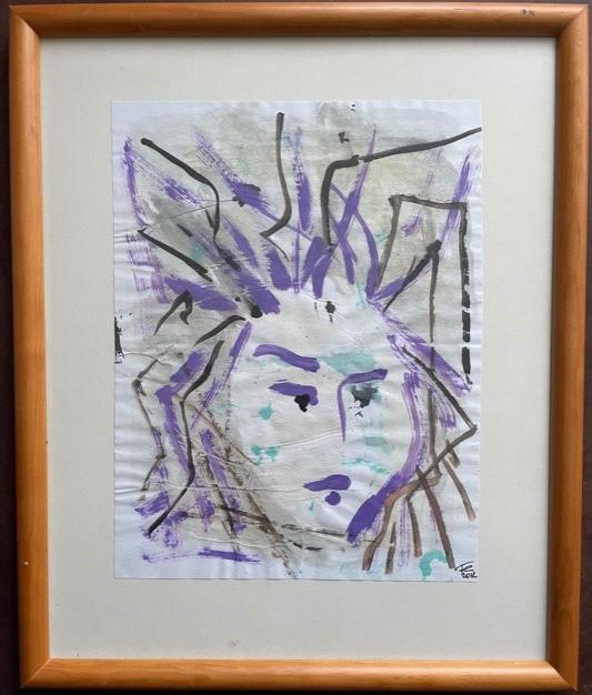"""La Medusa  (cara 4/8 de una serie """"Colores Complementarios"""" : ocre y violeta)"""