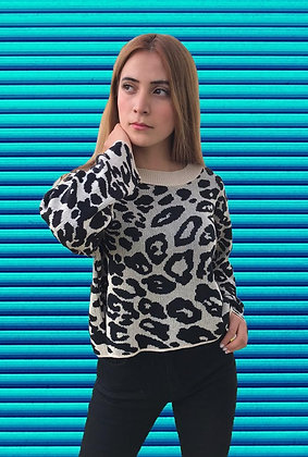 Suéter Animal Print corto