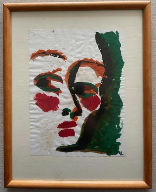 """Te reto !  (cara 5/8 de una serie """"Colores Complementarios"""" : rojo y verde)"""