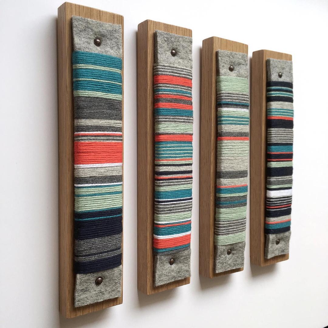 Yarn wrap wall hangings