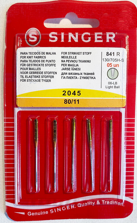 Singer Ballpoint Yellow Band Type 2045 80/11 Sewing Machine Needles