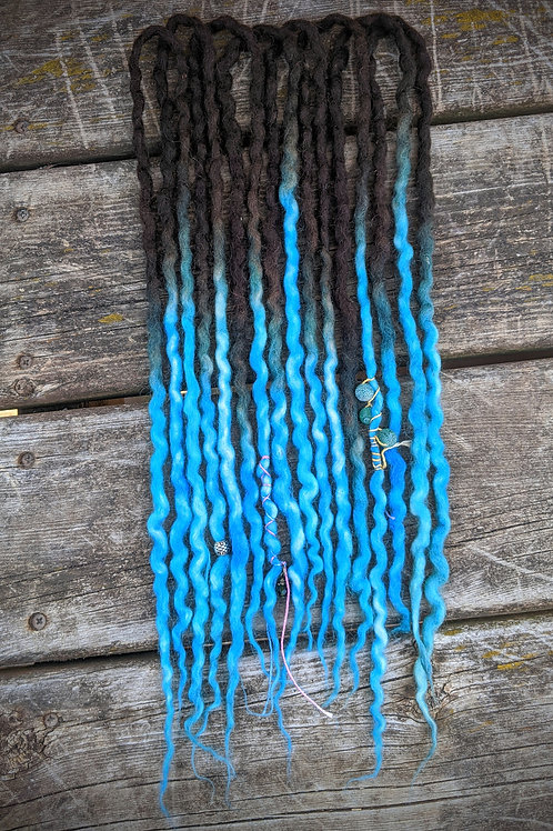 Dark Brown to Turquoise Blue Accent Set of Wool Dreadlocks