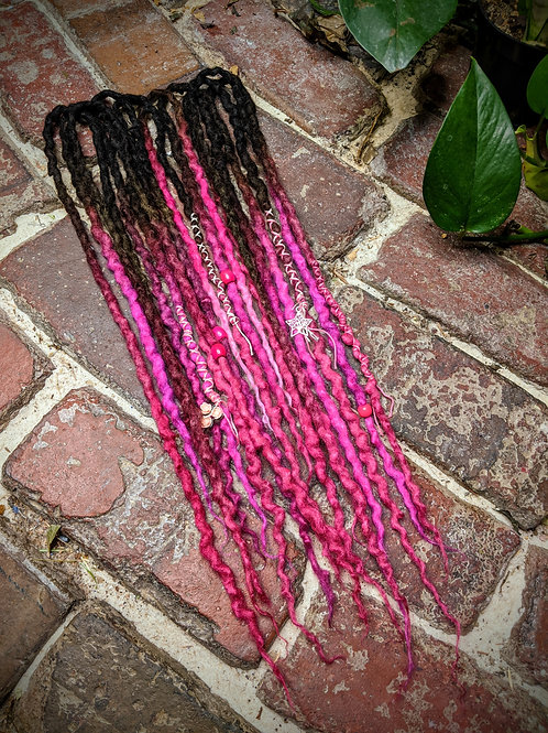 Fuchsia Faerie Accent Set of Wool Dreadlocks
