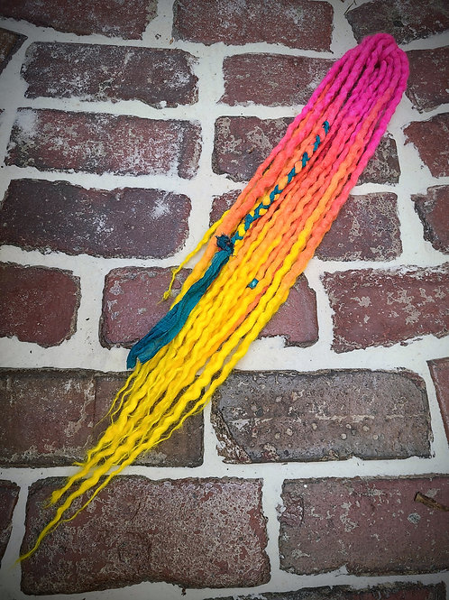 Neon Sunrise Accent Set of Wool Dreadlocks