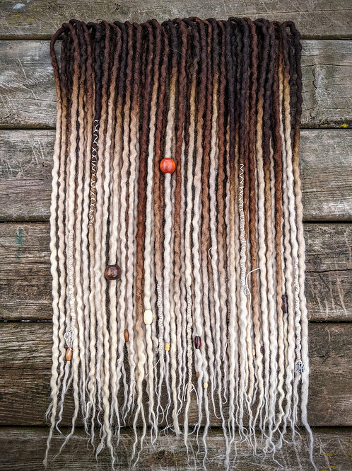 Dark Brown to Blonde 3/4 Set of Wool Dreadlocks
