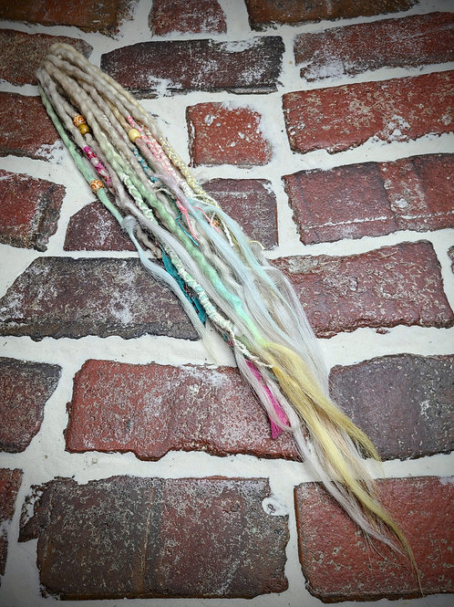 Pastel and Platinum Accent Set of Wool Dreadlocks
