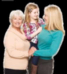 Flip Mum, daughter, grandma, leaves tran