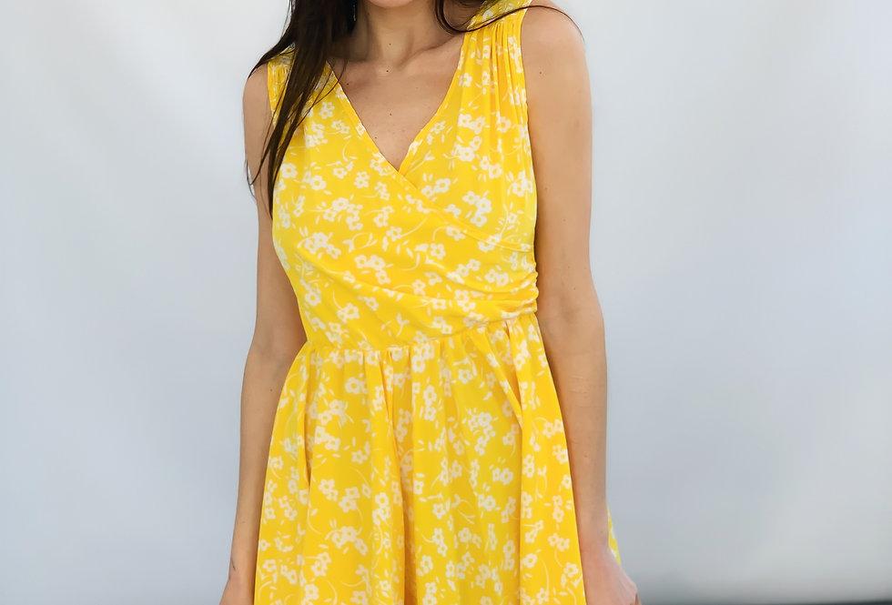 Сарафан с юбкой солнце цветочный принт желтый