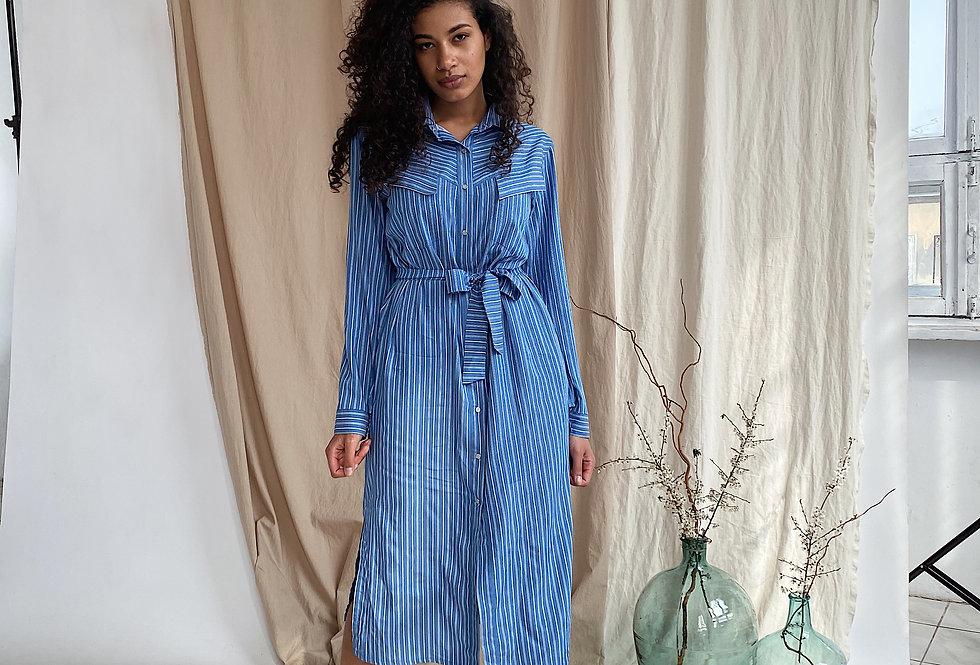 Платье-рубашка в полоску из джинс-котона синяя
