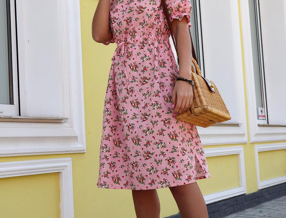Платье изо льна Кулиска розовое